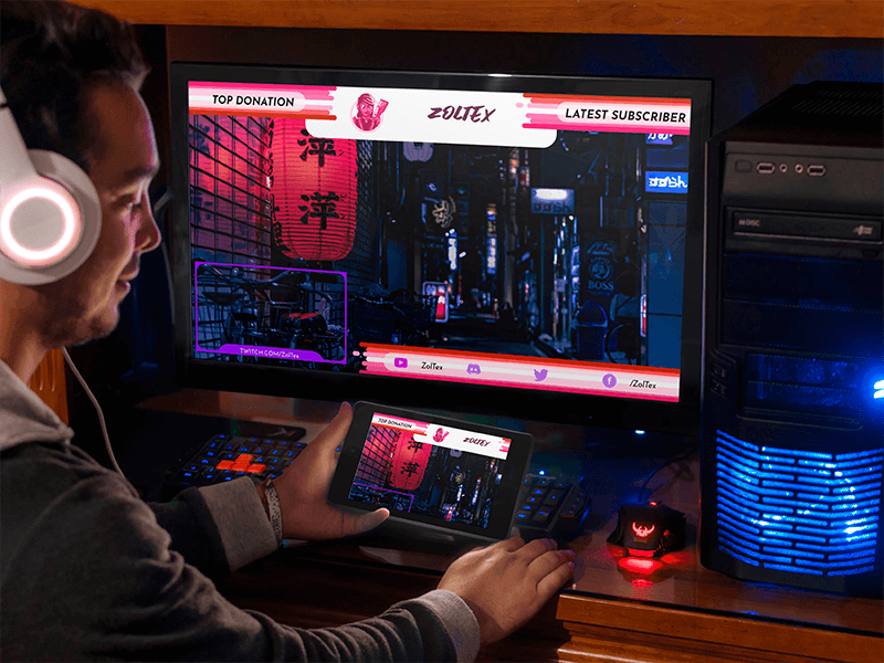 Tablet And Desktop Pc Mockup Template At Gamer Room