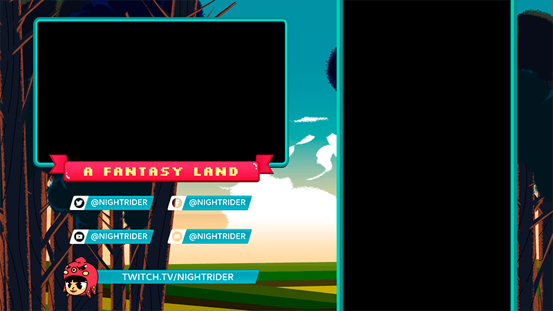 Twitch Overlay Generator For Mobile Gaming Featuring Illustrated Fantasy Scenery