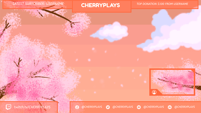 Twitch Overlay Maker With A Pixel Art Landscape Background