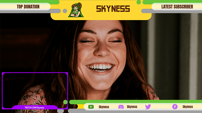 Twitch Overlay Maker With A Webcam Frame Featuring Round Edge Graphics