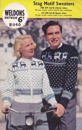 Couple From The 50s Wearing Christmas Sweaters