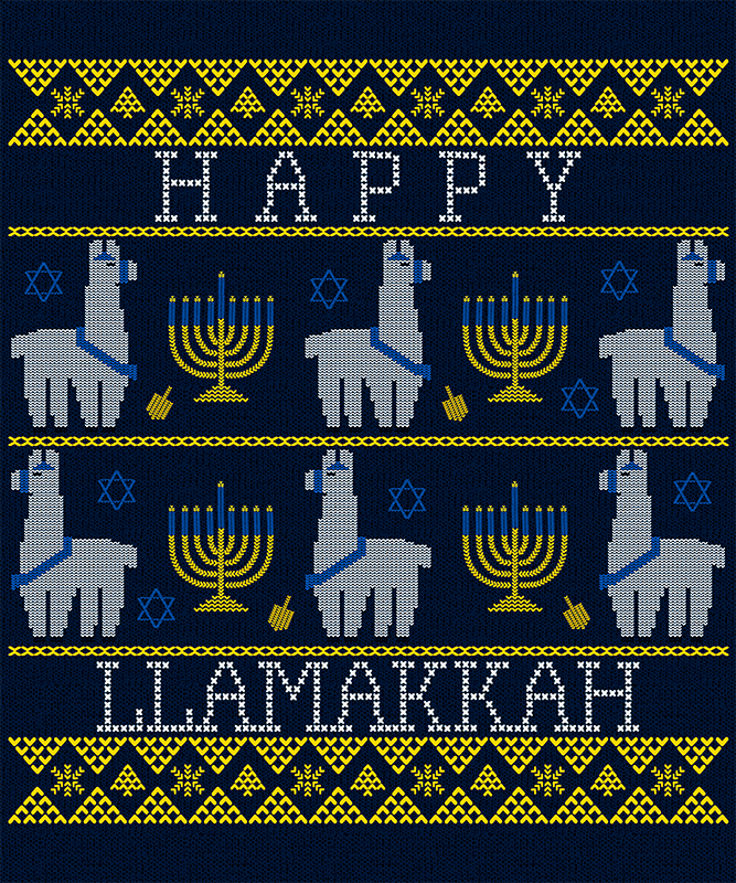 Hannukah T Shirt Design Maker In An Ugly Christmas Sweater Style