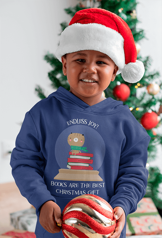 Hoodie Mockup Of A Little Boy Playing With The Christmas Ornaments