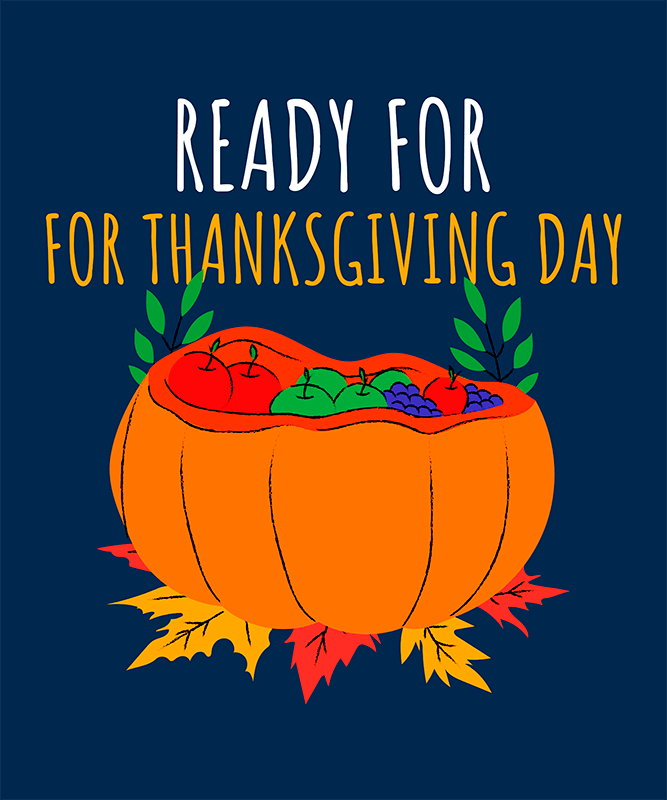 Illustrated T Shirt Design Creator For Kids Featuring A Thanksgiving Pumpkin