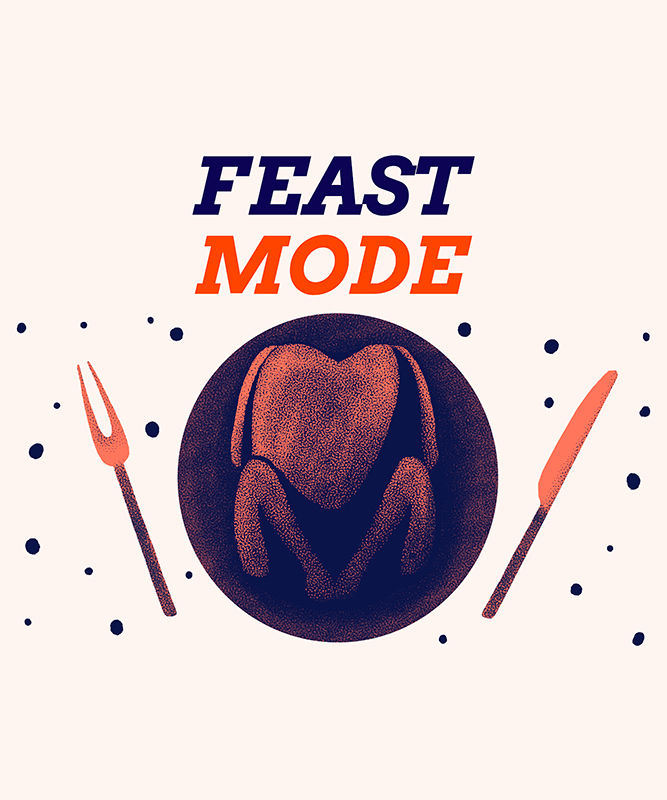Illustrated T Shirt Design Maker For Thanksgiving Featuring A Feast