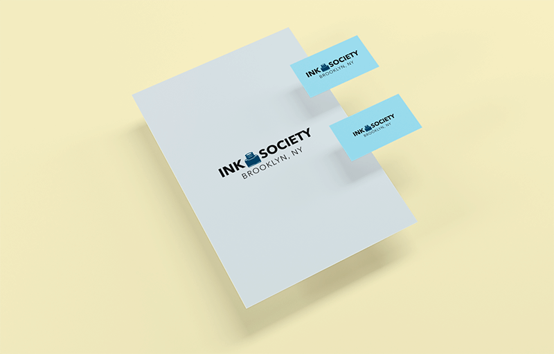 Mockup Featuring Two Business Cards Floating Over A Letterhead