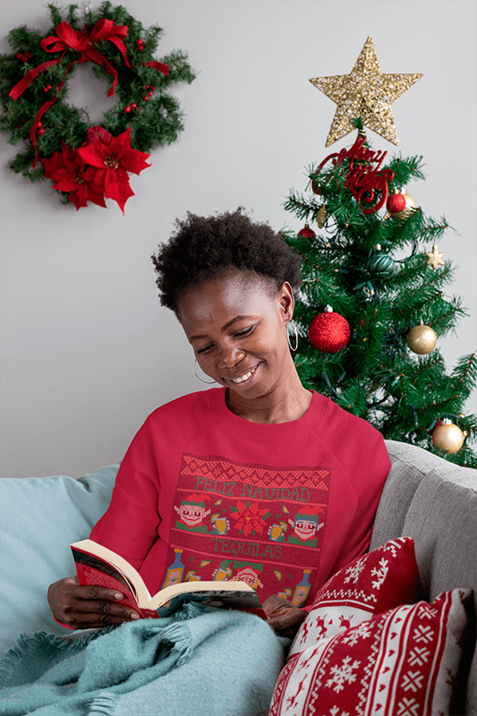 Sweatshirt Mockup Of A Happy Woman Reading Next To A Christmas Tree