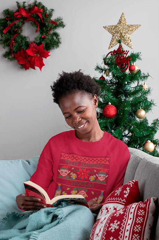 Sweatshirt Mockup Of A Happy Woman Reading Next To A Christmas Tree