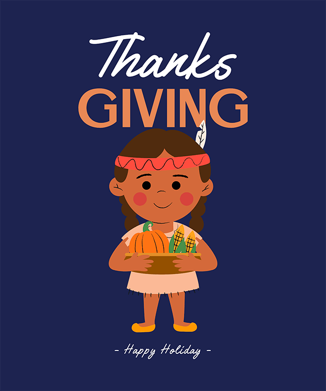 T Shirt Design Creator With A Girl Holding A Thanksgiving Basket