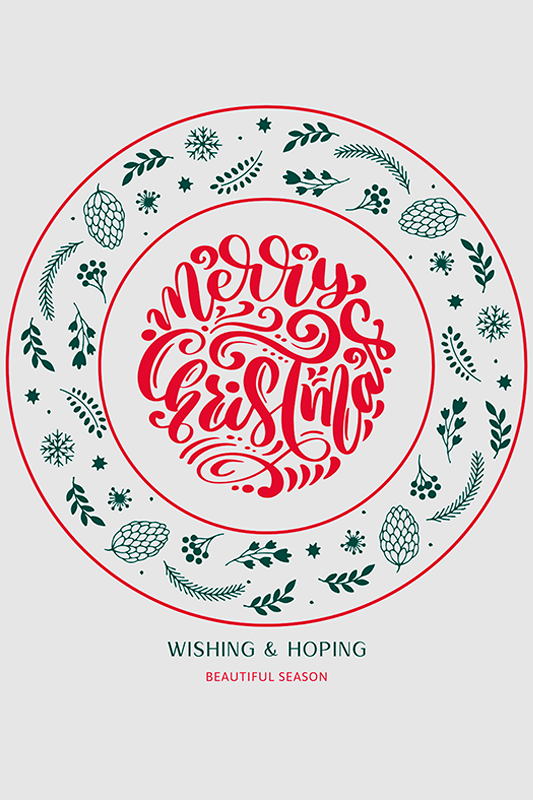 T Shirt Design Maker Featuring A Merry Christmas Message And A Cute Ornamental Design Copia