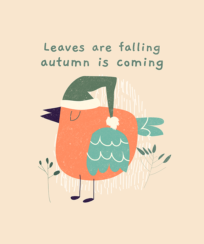 T Shirt Design Template Featuring An Autumn Quote And A Bird