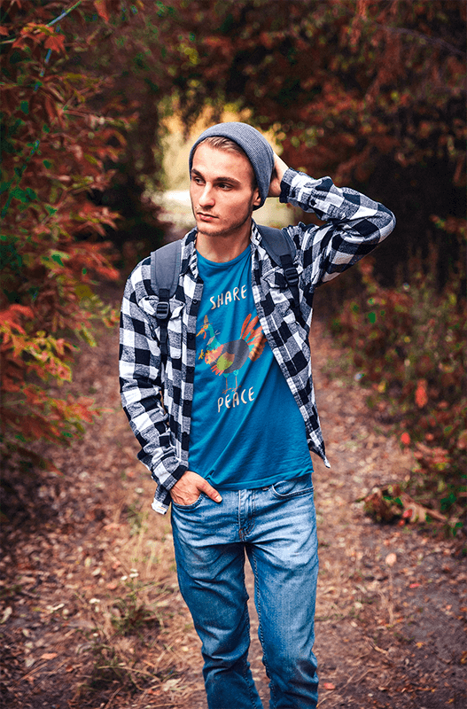 T Shirt Mockup Of A Man Surrounded By Nature In Autumn