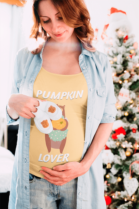 T Shirt Mockup Of A Pregnant Woman In Front Of A Christmas Tree 37256 R El2
