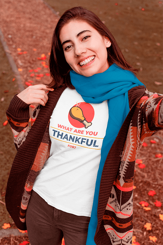 T Shirt Mockup Of A Woman Taking A Selfie In Fall