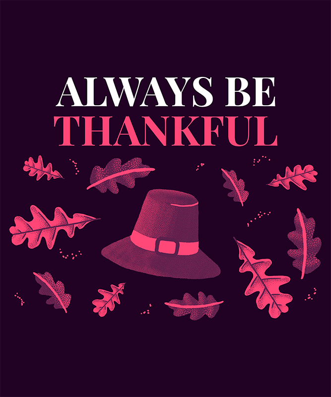 Thanksgiving Day T Shirt Design Template Featuring A Cute Illustration