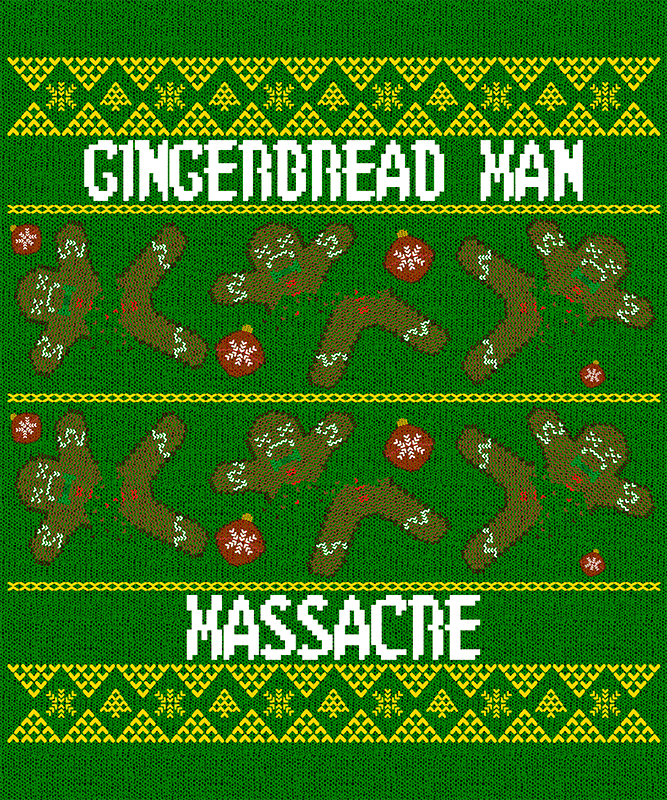Ugly Xmas Design Generator Featuring Chopped Gingerbread Man Illustrations