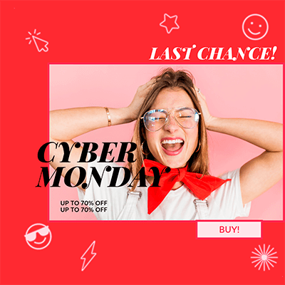 Ad Banner Template For A Flash Cyber Monday Sale Featuring A Photo