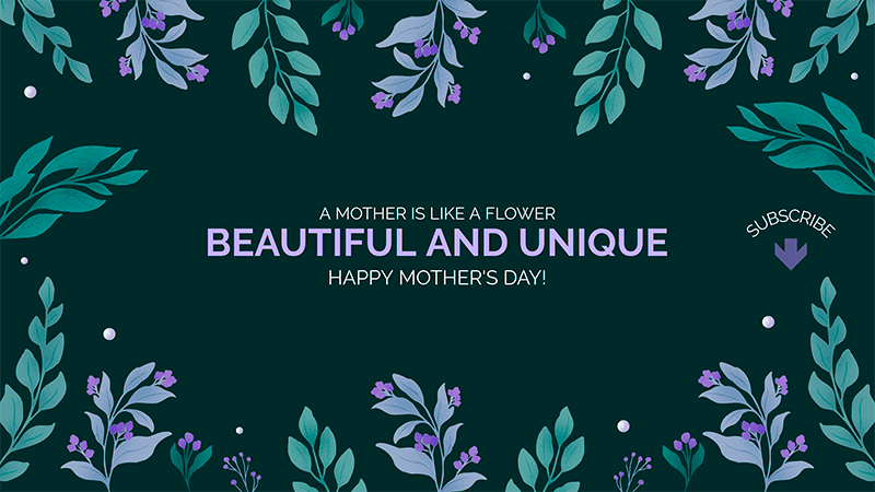 Floral Themed Youtube Banner Template To Celebrate Mother S Day