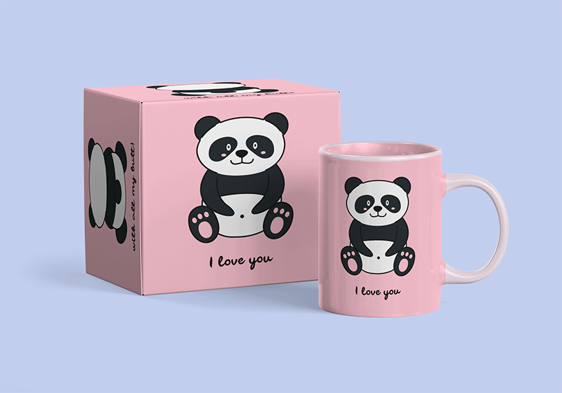 Mockup Of A Coffee Mug And Its Package