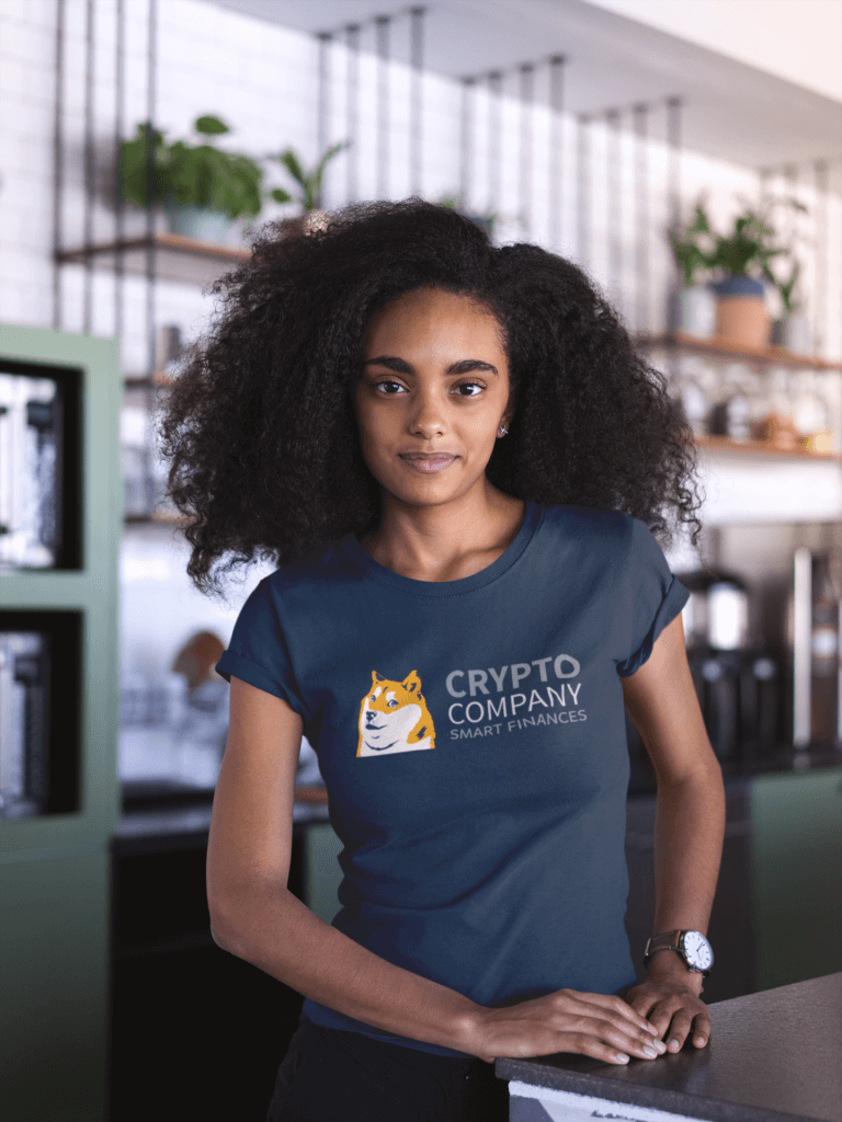 Mockup Of A Woman With Curly Hair Wearing A T Shirt At A Startup 20406