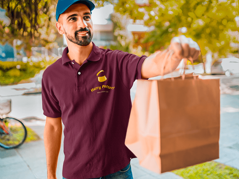 Polo Shirt Mockup Of A Man Delivering Food