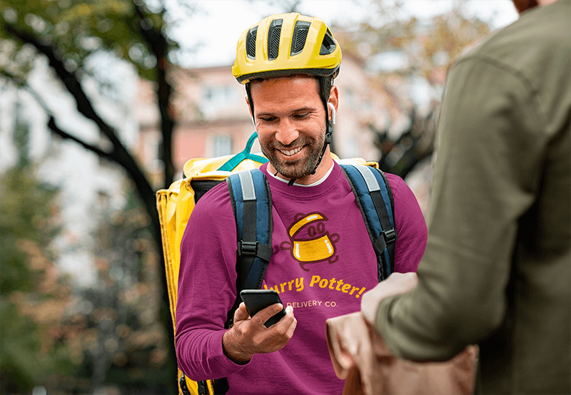 Round Neck Sweatshirt Featuring A Smiling Delivery Guy With His Phone