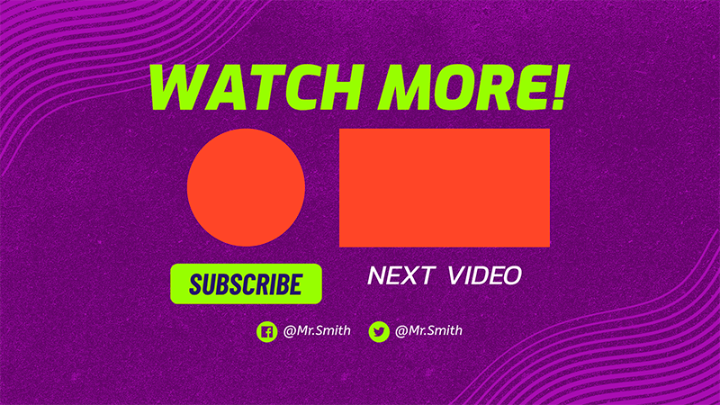 Vibrant Youtube End Card Design Template