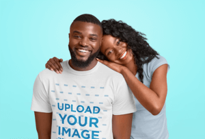 Copia De T Shirt Mockup Of A Bearded Man Posing With His Girlfriend