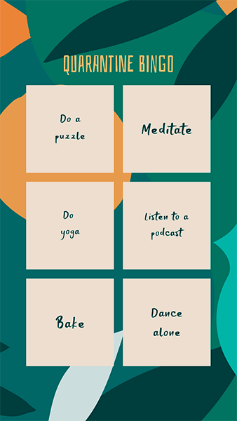 Instagram Story Maker For A Bingo Challenge To Play During Quarantine