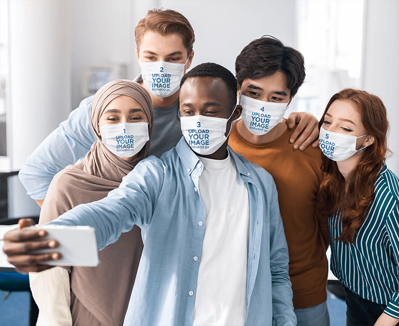 Mockup Featuring A Group Of A Friends Wearing Face Masks