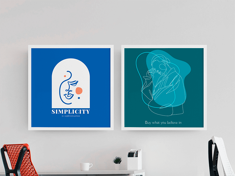 Mockup Of Two Square Art Prints Placed On An Office Wall