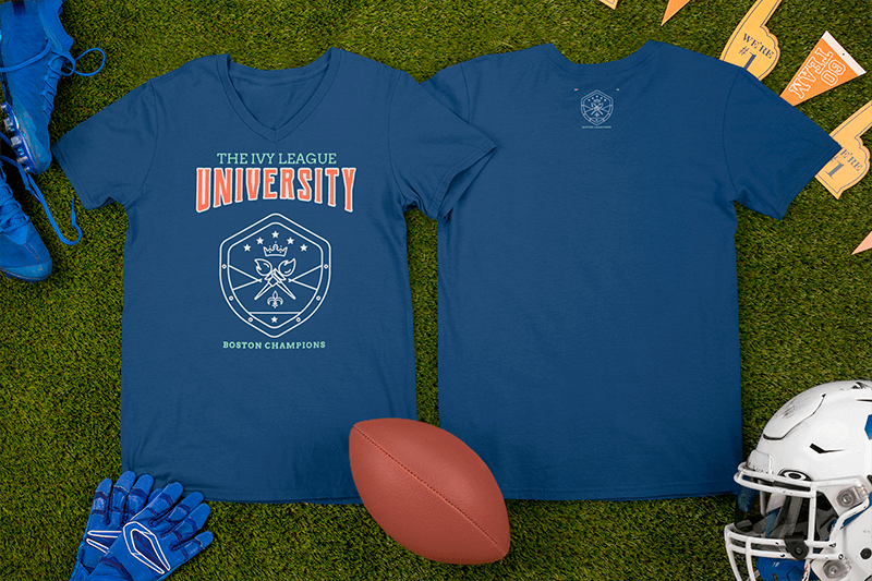 Mockup Of Two V Neck T Shirts Surrounded By Football Equipment