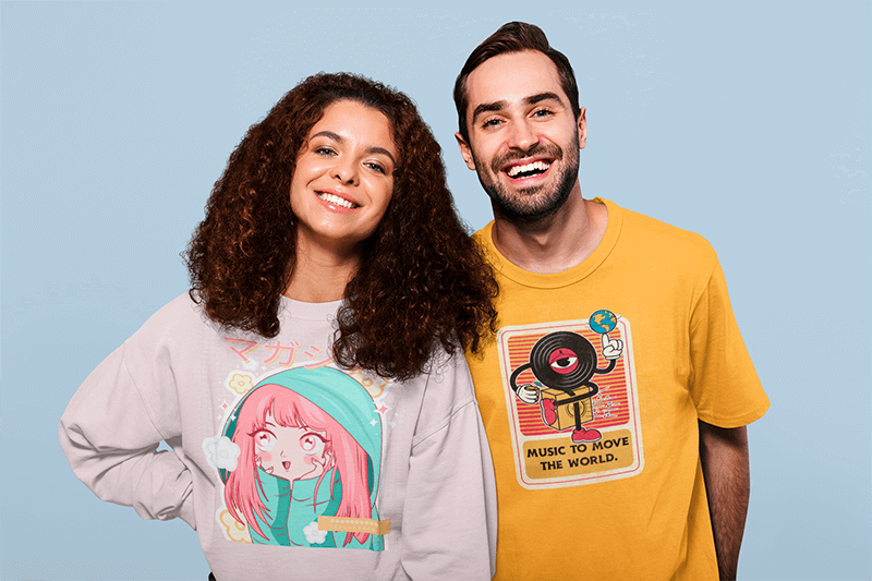Studio Mockup Of A Man Wearing A Tee And A Woman Wearing A Sweatshirt