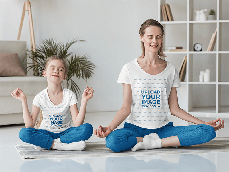 T Shirt Mockup Featuring A Girl And Her Mother Meditating At Home