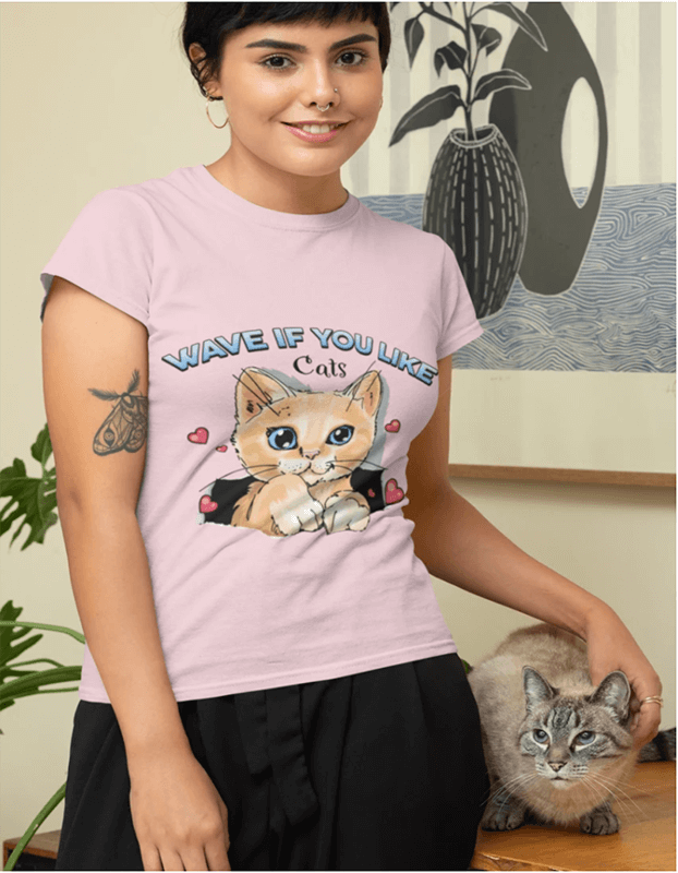 T Shirt Mockup Featuring A Woman With Her Cat At Home