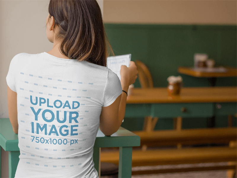 T Shirt Mockup For Back Designs Featuring Woman At Cafe