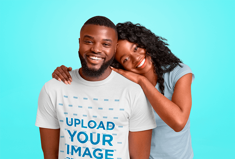 T Shirt Mockup Of A Bearded Man Posing With His Girlfriend At A Studio