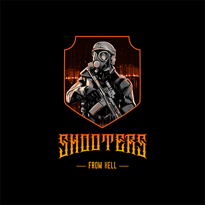 Gaming Logo Creator Featuring Illustrations Of Shooter Characters