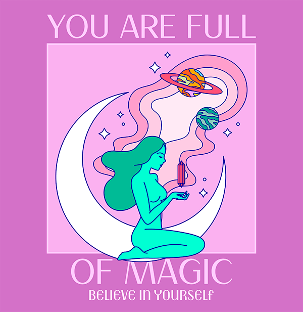 T Shirt Design Template Featuring A Magic Quote And A Woman Illustration