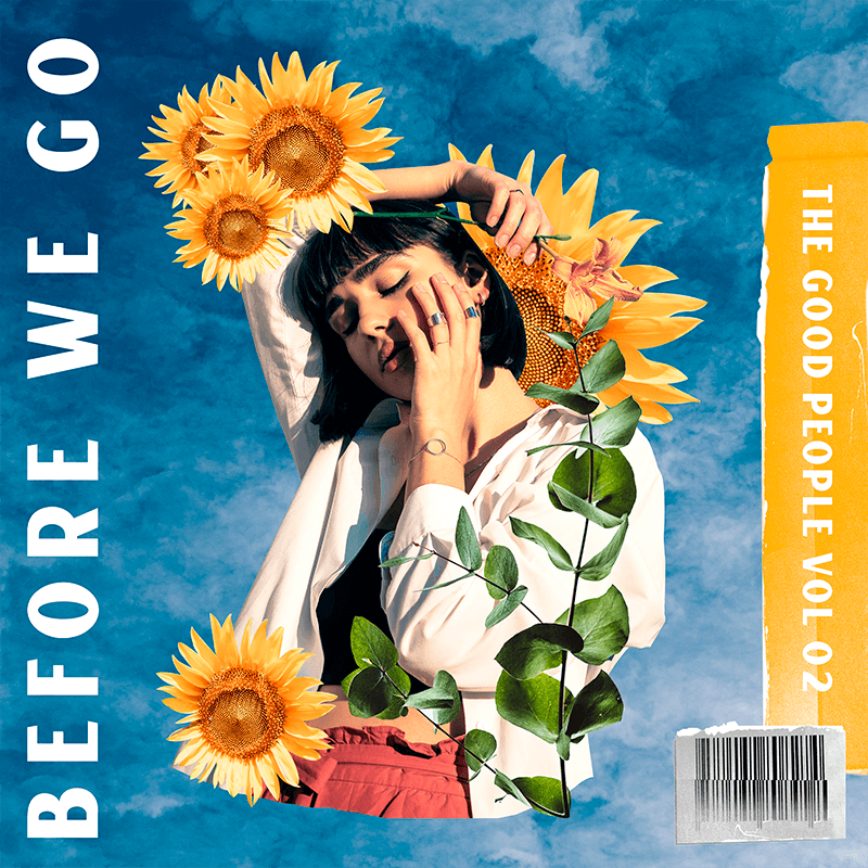 Album Cover Maker Featuring A Vintage Collage With Sunflower Graphics