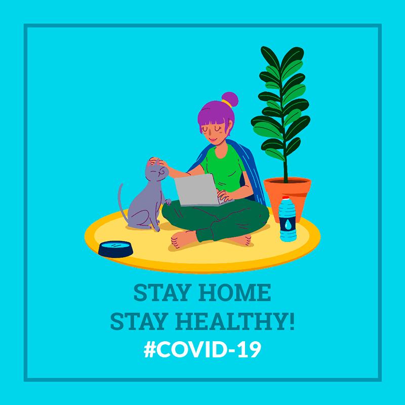 Coronavirus Awareness Facebook Post Design Maker Featuring An Illustration Of A Woman At Home