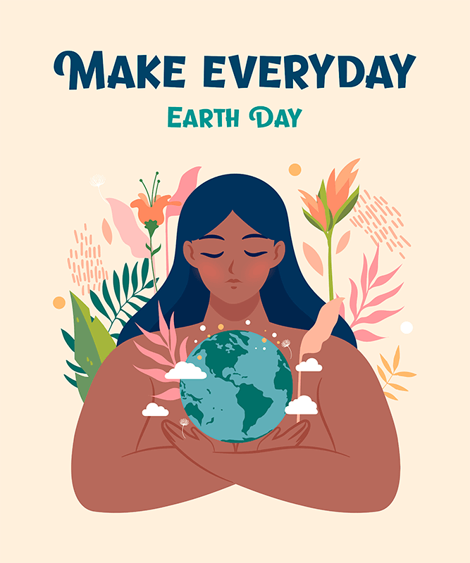 Earth Day T Shirt Design Template Featuring Mother Nature Illustrations