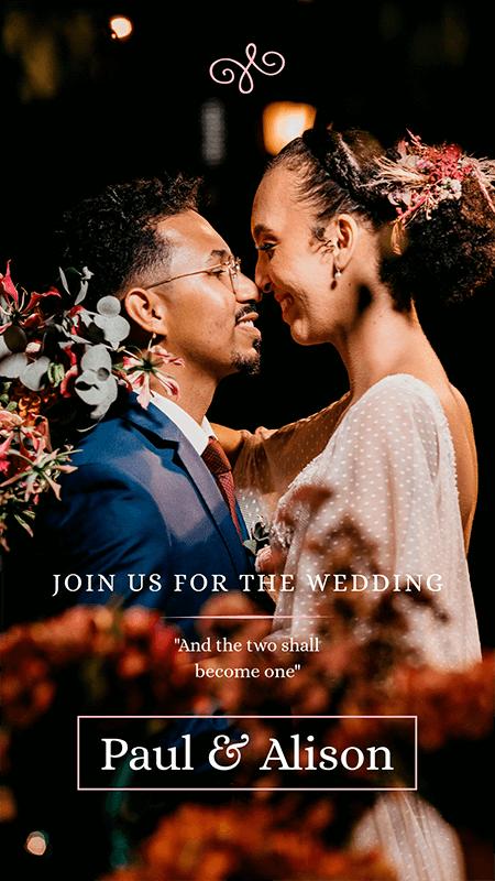 Instagram Story Creator For A Modern Wedding Invitepng