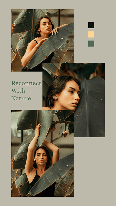 Instagram Story Design Maker Featuring A Quote On Nature And Three Photos