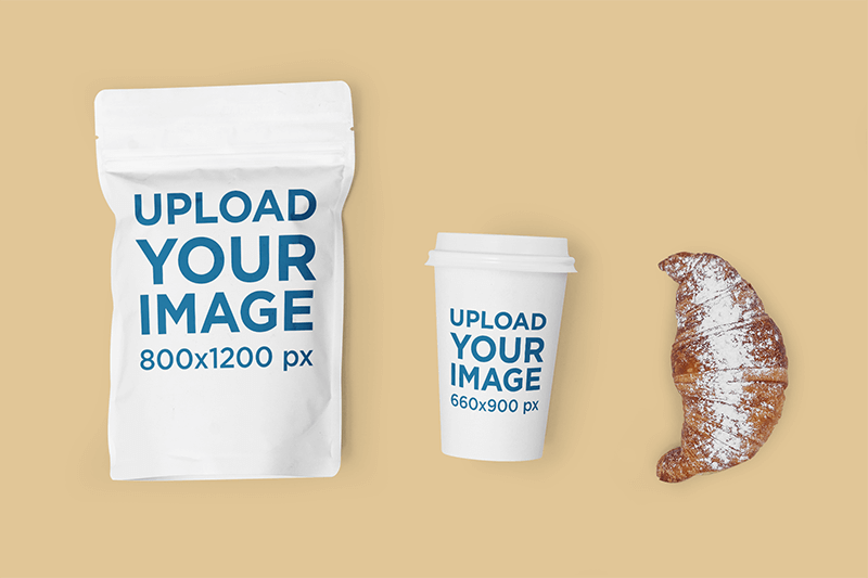 Mockup Featuring A Coffee Cup And A Zip Bag Placed On A Solid Color Surface