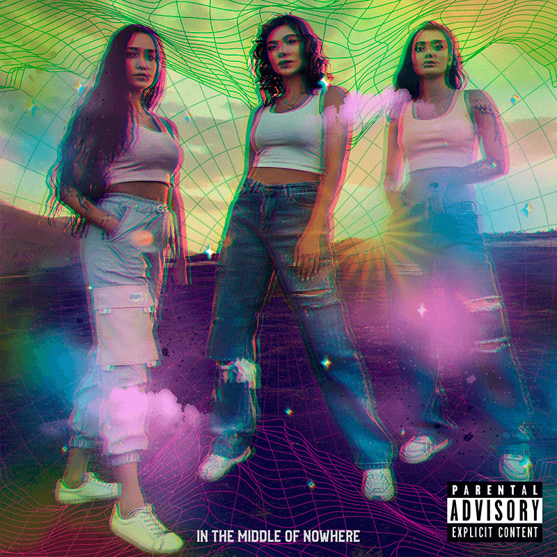 Pop Album Cover Template For A Girl Band With A Glitch Overlay