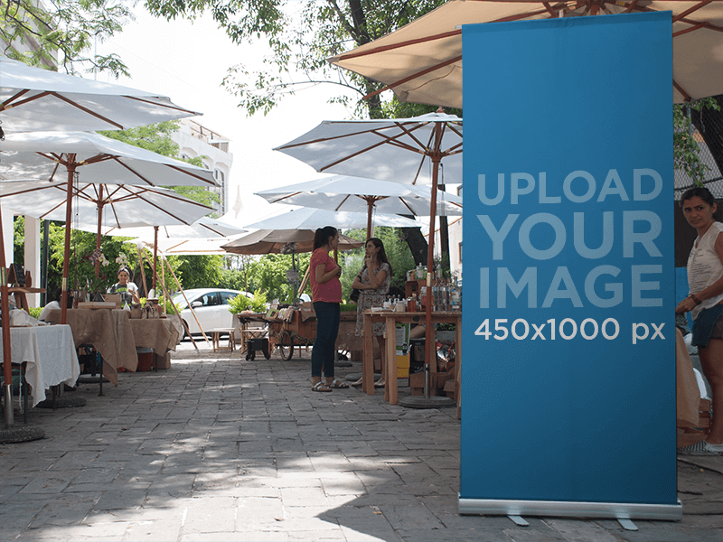 :roll Up Banner Mockup At An Outdoor Bazar