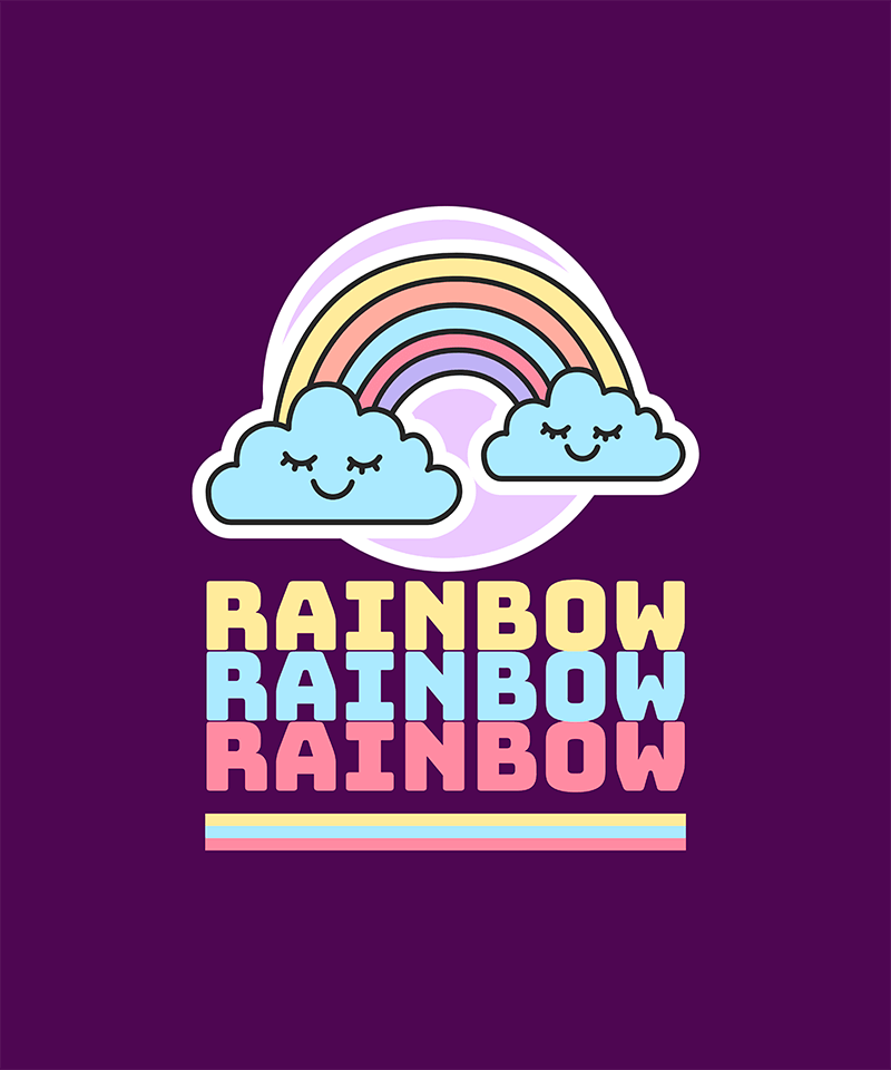 T Shirt Design Generator Featuring A Happy Rainbow