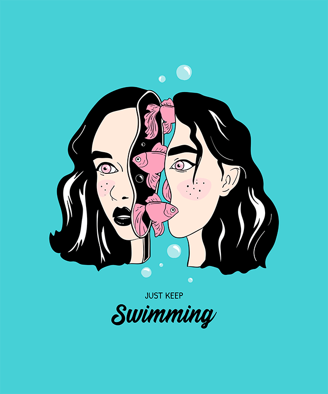 T Shirt Design Template Featuring Surreal Illustrations Of Female Faces