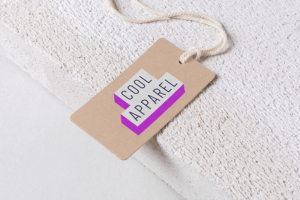 Mockup Of A Cardboard Label Tag At The Edge Of A Textured Surface